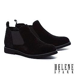 裸靴 HELENE SPARK 簡約率性純色羊麂皮低跟裸靴-黑