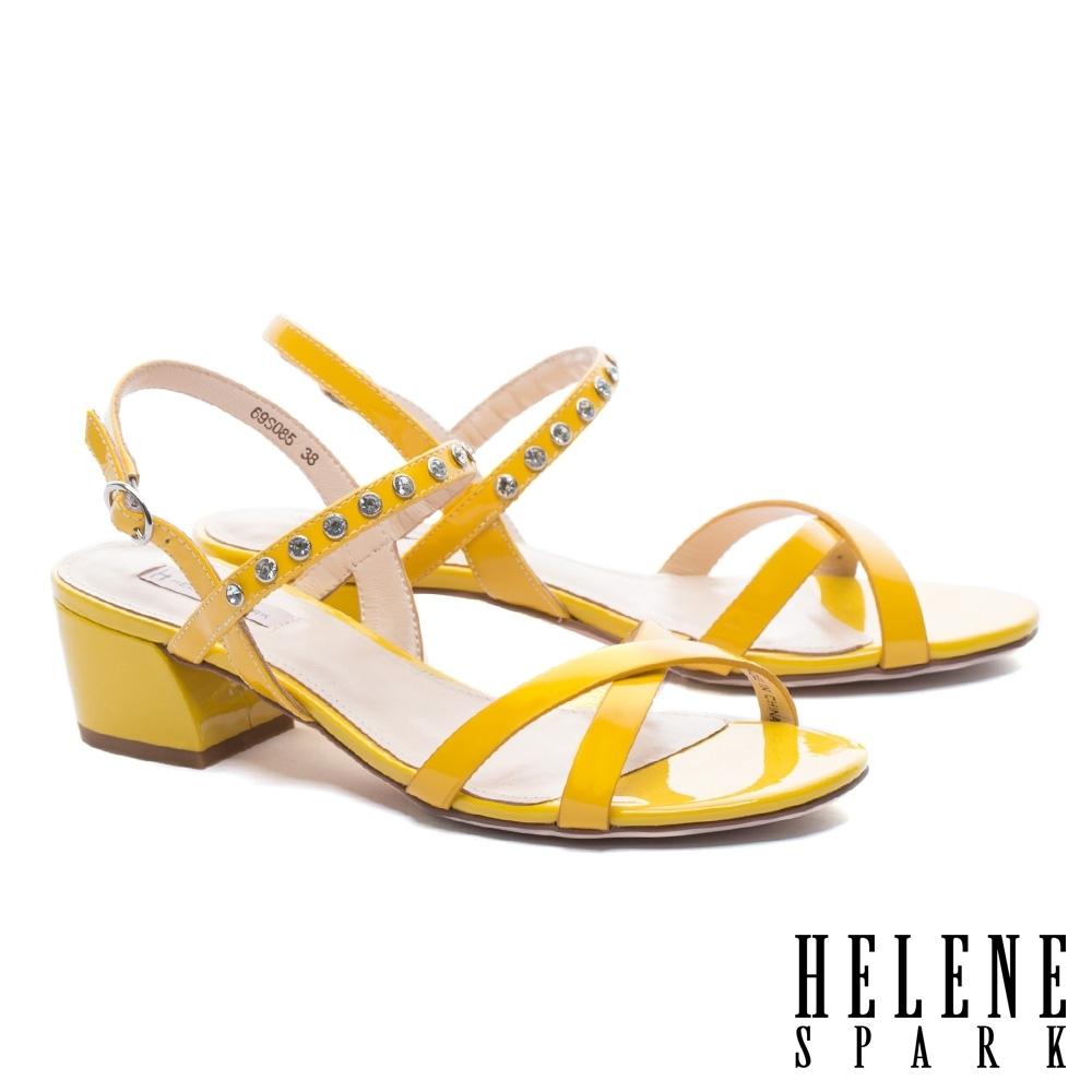 涼鞋 HELENE SPARK 簡約設計交叉繫帶晶鑽純色全真皮低跟涼鞋-黃