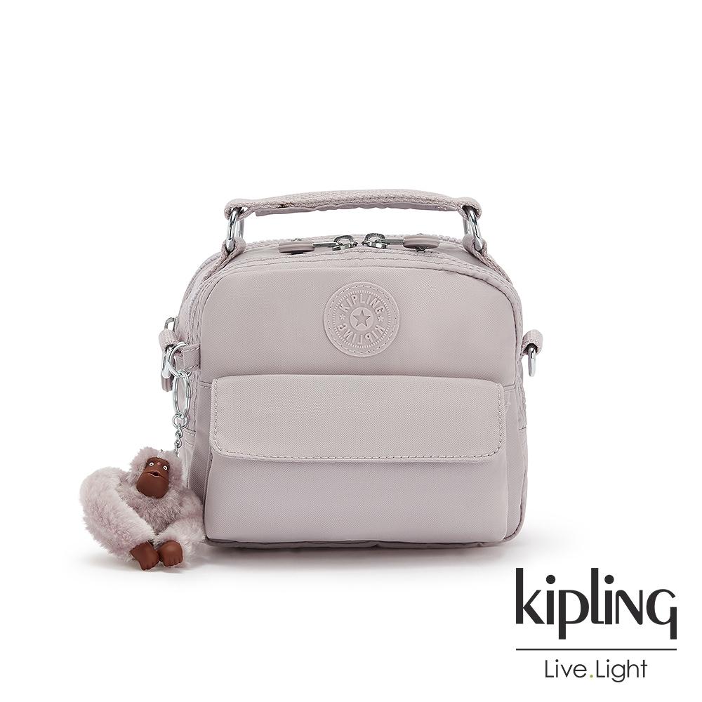 Kipling 優雅煙灰粉拉鍊兩用側背後背包-PUCK
