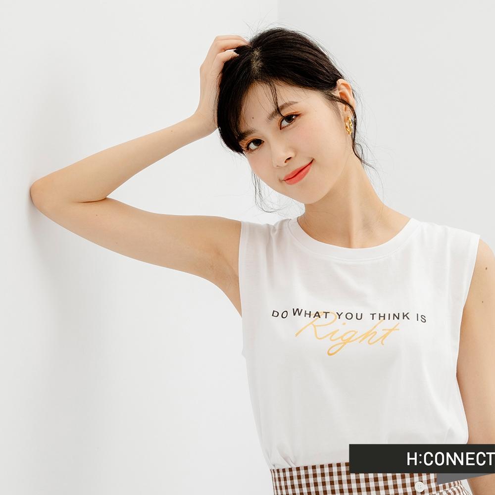 H-CONNECT 韓國品牌 女裝-英文個性標語圖印背心-白色
