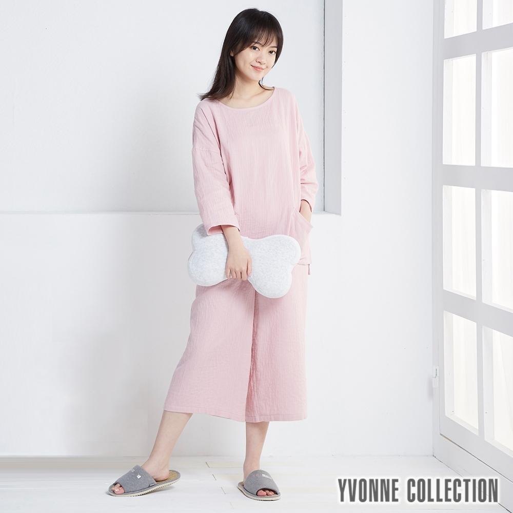 YVONNE 雙層紗八分寬褲-櫻花粉