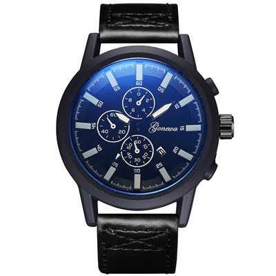 Gonewa-星際領航 時尚復古軍式仿三眼日曆手錶 (3色任選)
