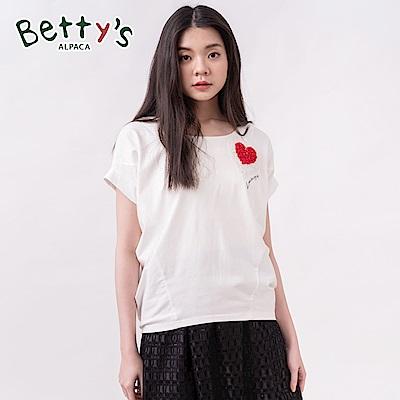 betty's貝蒂思 立體珠飾愛心飛鼠袖上衣(白色)