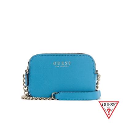 GUESS-女包-簡約素面金屬鍊條小方包-亮藍 原價2690