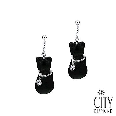 City Diamond引雅【東京Yuki系列】10K貓咪黑瑪瑙鋯石耳環