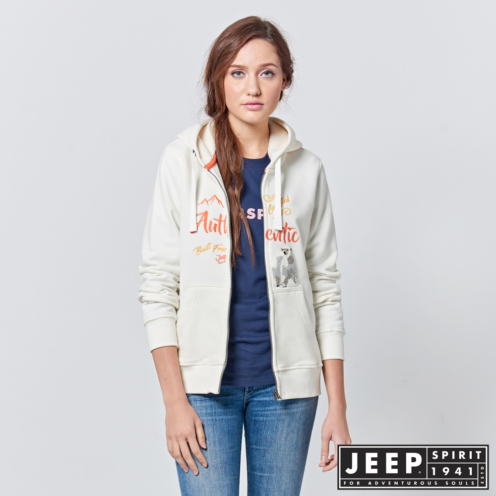 JEEP 女裝 美式風格造型刺繡長袖外套 -象牙白