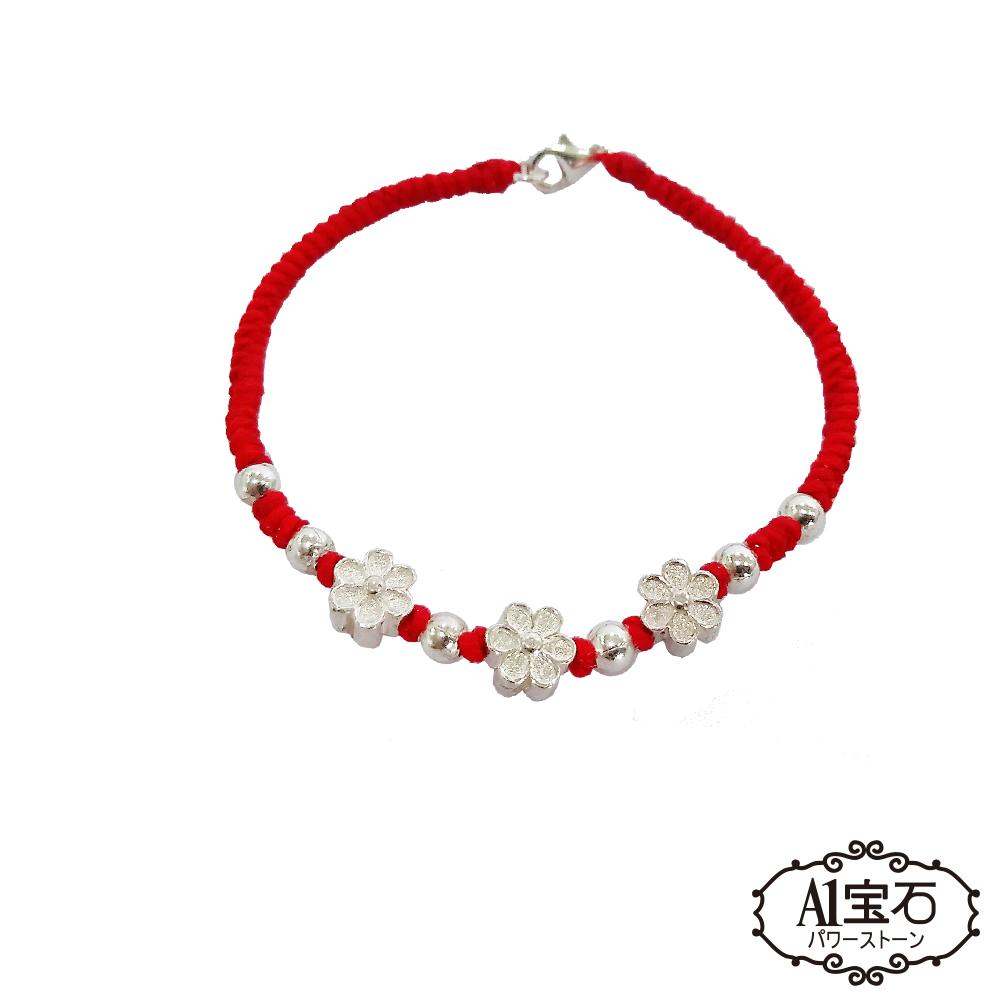 A1寶石 純銀桃花-貴人運旺蠟繩紅線手鍊-能放鬆平衡情緒抗壓力並帶來正向能量