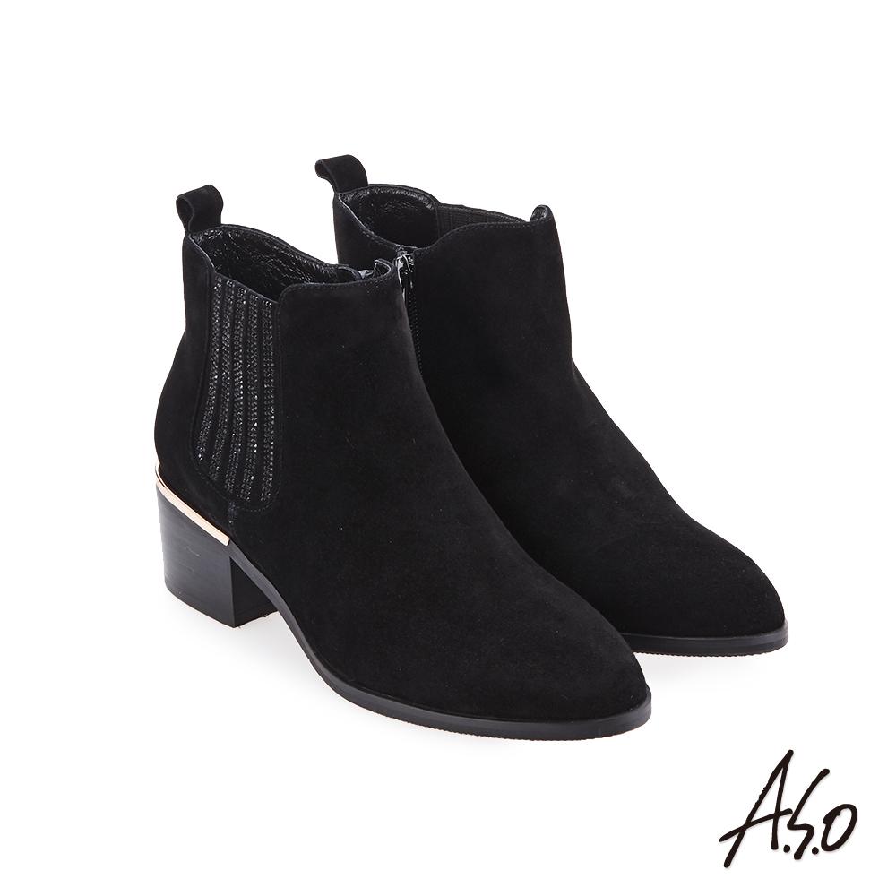 A.S.O 品味非凡 側邊燙鑽羊絨靴 黑