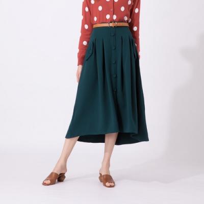 【CUMAR】排釦打摺裙-女短裙(綠色/版型適中)