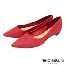 Tino Bellini巴西進口牛皮壓紋包跟平底鞋_紅