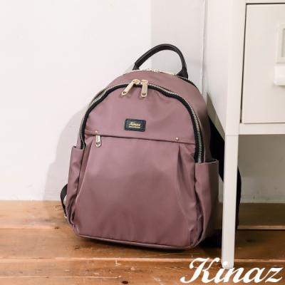 KINAZ casual 雙層大容量防潑水手提後背包-迷霧粉紫-輕甜漫遊系列