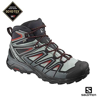 Salomon 中筒登山鞋 GORETEX防水 男 X ULTRA 3 灰綠