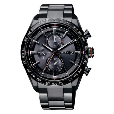 CITIZEN 光動能世界時間計時鈦金電波錶錶AT8185-62E-黑/42mm