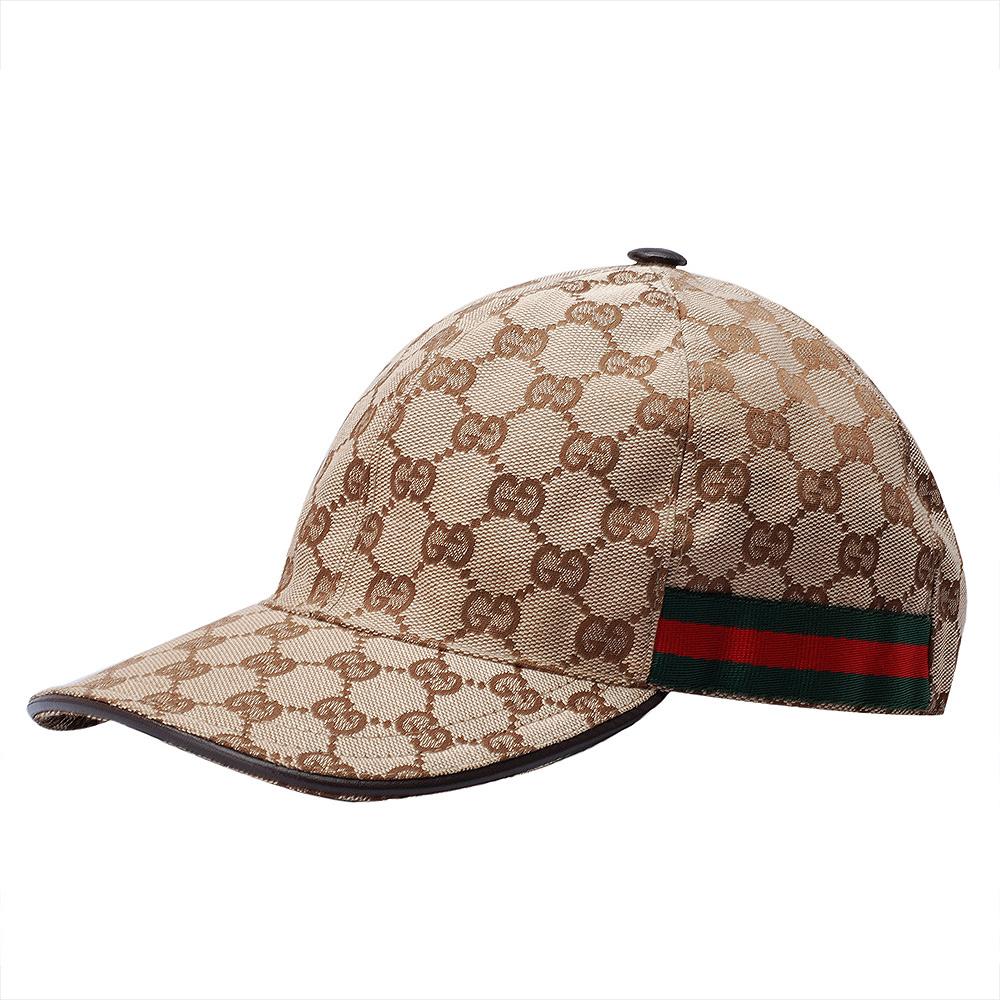 GUCCI 經典GG Supreme帆布綠紅綠織帶飾邊鴨舌帽