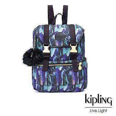 Kipling 渲染潑墨金點印花雙扣後背包(小)-EXPERIENCE S