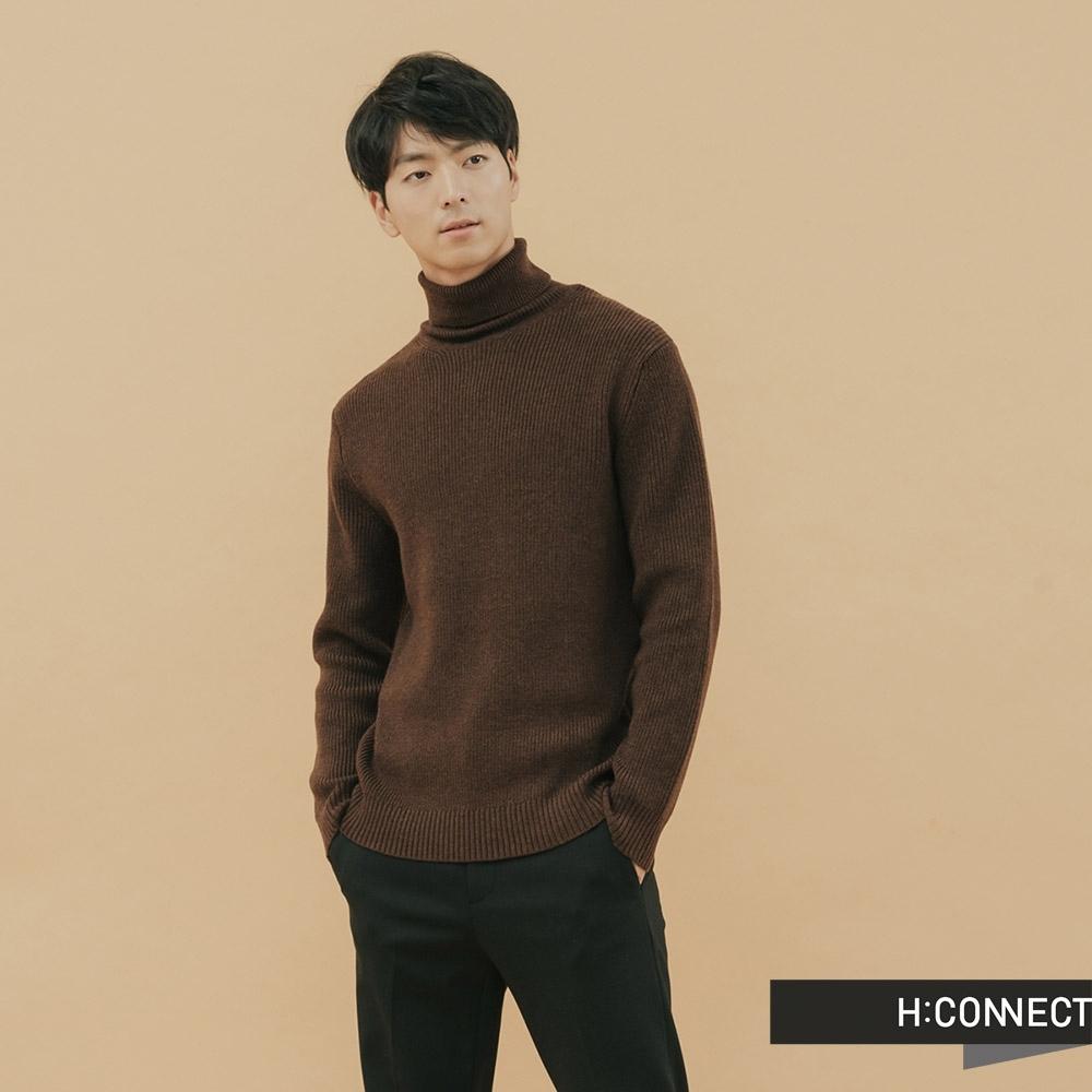 H:CONNECT 韓國品牌 男裝-純色高領羊毛上衣 - 棕色(快)