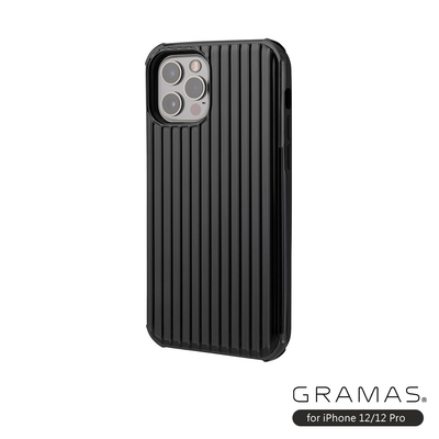 GRAMAS 東京職人工藝iPhone 12/12 Pro (6.1吋)專用 雙料保護軍規防摔行李箱手機殼-Rib系列(黑)