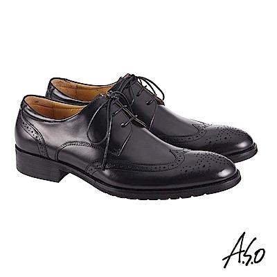 A.S.O職場通勤 萬步健康鞋 外耳式綁帶款紳士鞋-黑