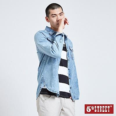5th STREET 貼袋經典牛仔襯衫-男-重漂藍