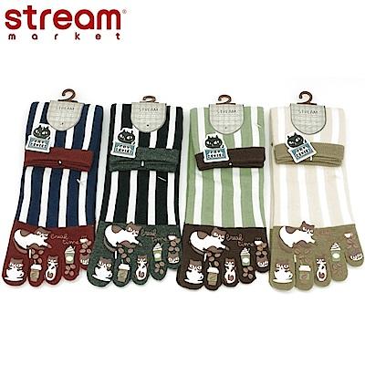 日本STREAM臭臉貓咪直條紋五指襪(隨機出貨)EE56114圖案立體印製,生動活潑