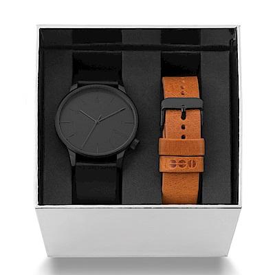 KOMONO Winston腕錶組盒 絕黑干邑褐錶帶/41mm