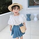 小衣衫童裝 女童夏季秀氣花邊蕾絲公主袖白色上衣1090306