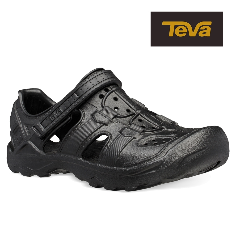 【TEVA】原廠貨 幼/中/大童 Omnium Drift 水陸輕量護趾涼鞋/雨鞋/水鞋(黑色-TV1110229CBLK)