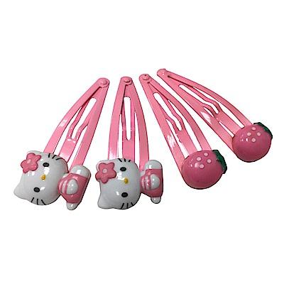日本Hello Kitty 凱蒂貓草莓髮夾(四入組)