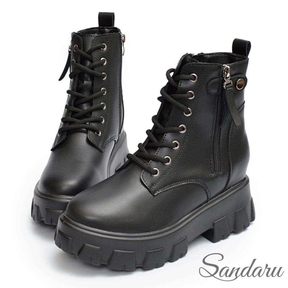 山打努SANDARU-馬汀靴 輕量拉鍊裝飾綁帶鋸齒靴-黑