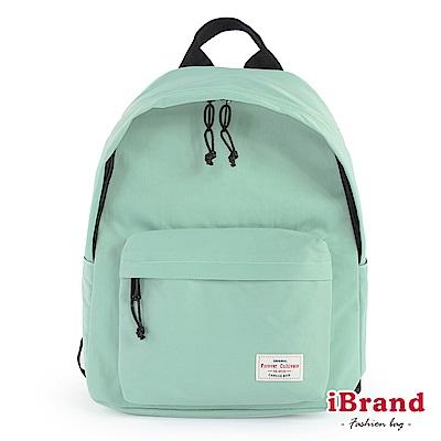 iBrand後背包 簡約素色帆布口袋後背包-薄荷綠
