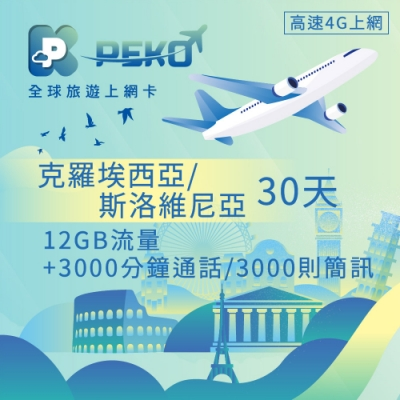 【PEKO】克羅埃西亞/斯洛維尼亞上網卡 網卡 SIM卡 30日 12GB流量