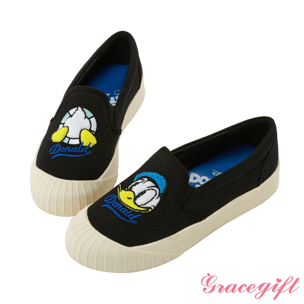 Disney collection by gracegift不對稱電繡平底鞋 黑