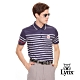 【Lynx Golf】男款涼感舒適滿板橫條印花短袖POLO衫-深藍色 product thumbnail 2
