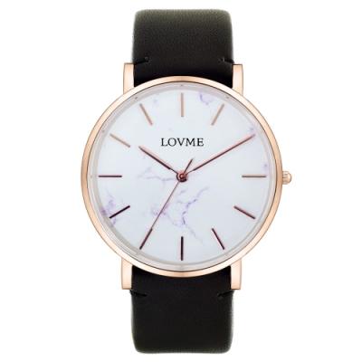 LOVME 大理石紋風格時尚手錶-IP玫x黑帶/38mm