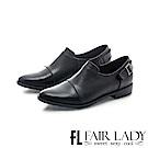 Fair Lady 知性優雅尖頭單色拼接後扣飾跟鞋 黑