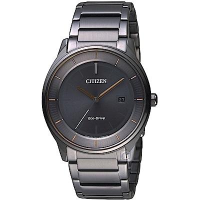 CITIZEN星辰GENT S簡約時尚光動能腕錶(BM7407-81H)-灰黑