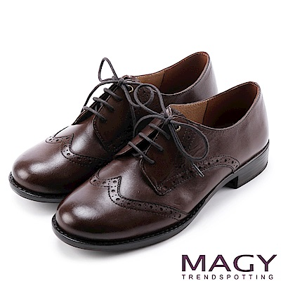 MAGY 英倫學院風  經典花邊綁帶真皮牛津鞋-咖啡
