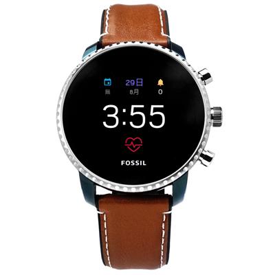 FOSSIL Q GEN 4 Q 智慧型觸控藍牙連線矽膠真皮手錶 黑x藍框x褐 45mm