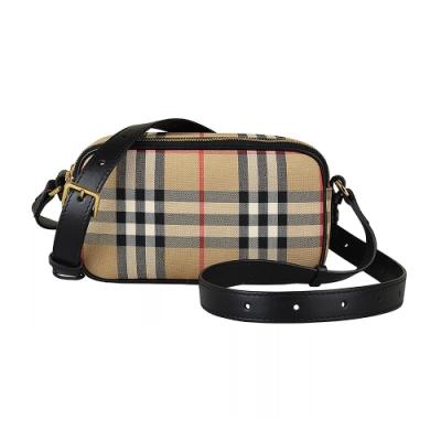 Burberry VINTAGE 格紋帆布皮革背帶雙拉鍊斜背胸背包 (米x黑)