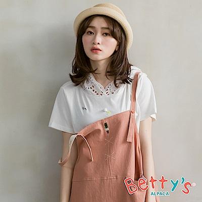 betty's貝蒂思 素面微亮片透膚連帽T-shirt(白色)