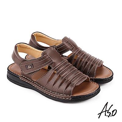 A.S.O 手縫氣墊 調節式都會休閒涼拖鞋 咖啡