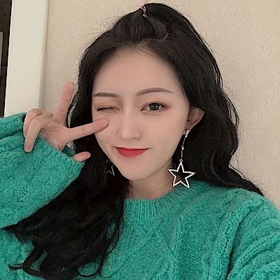 梨花HaNA 韓國怪美的五角水鑽星星大耳環