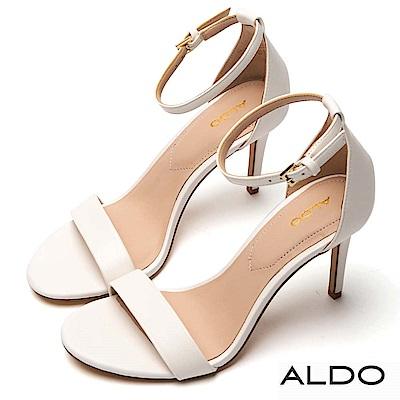 ALDO 原色一字繞踝繫帶細高跟涼鞋~優雅白色