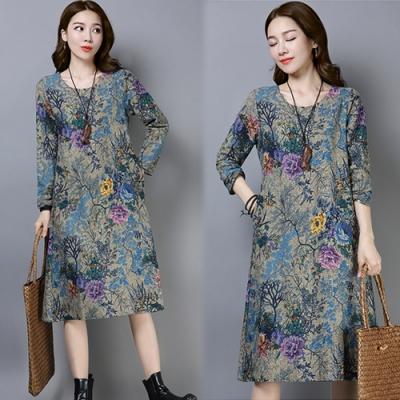 【韓國K.W.】(預購)印花中國風韓版長袖洋裝-2色