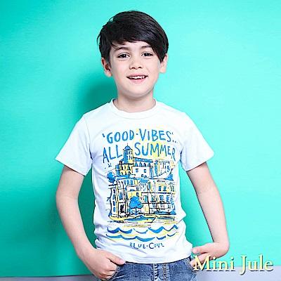 Mini Jule 上衣 字母太陽房子印花短袖T恤(藍)