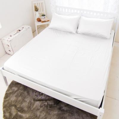 米夢家居-台灣製造-強效Q-MAX0.4瞬間清爽100%尼龍涼感紗床包雙人<b>5</b>尺-白