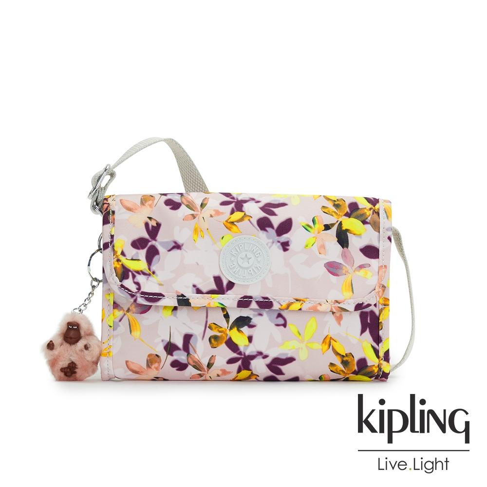 Kipling 飄零落花粉掀蓋拉鍊肩背包-BERRY