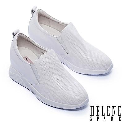 休閒鞋 HELENE SPARK 質感鋸齒波紋沖孔全真皮厚底休閒鞋-白