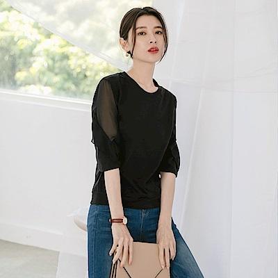台灣製造。純色高含棉微透膚五分袖上衣-OB大尺碼