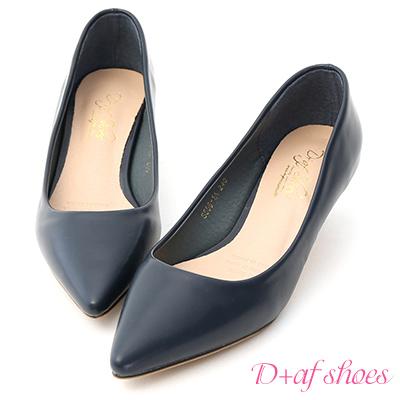 D+AF 知性優雅.簡約素面低跟尖頭鞋*藍